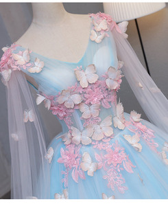 light blue fairy butterfly cosplay 3d ball gown medieval dress princess Medieval Renaissance Gown queen cosplay Victoria dress(China)