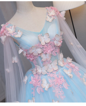 light blue fairy butterfly cosplay 3d ball gown medieval dress princess Medieval Renaissance Gown queen Victoria