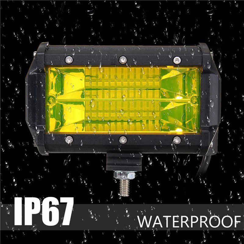 5 inch Yellow LED Work Light Low Consumption High Bright Long Lifespan Bar Flood Beam Driving Fog Lamp SUV Offroad Truck#263682