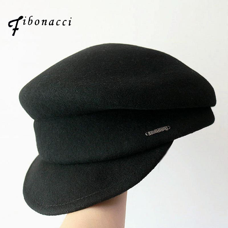 Fibonacci Autumn Winter Vintage Beret Military Hats Women Men Artist Cap Ladies Wool Felt Berets