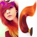 Popular ombre 2 tono burg/orange clip en la extensión del pelo peruano Remy de la virgen Del Pelo Humano Recto de Seda Rojo Clip en pelo