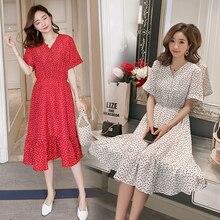 V neck Slim Waist A Line Maternity Nursing Dress Sweet Summer Korean Fashion Clothes for Pregnant Women Body-con Pregnancy