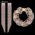 Minmin Свадебные Ювелирные Наборы Позолоченный Свадебные Браслеты Долго Кисточкой Серьги Африканские Бусы Наборы для Женщин Подарки EH424 + SL076