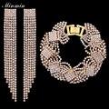 Minmin nupcial conjuntos de jóias banhado a ouro pulseiras de casamento brincos longos borla contas africanas conjuntos para as mulheres presentes eh424 + sl076