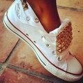 Primavera Otoño Moda Sasual Zapatos Planos Remaches Sólidos Hurón Lona de Las Mujeres Zapatos de Los Pares