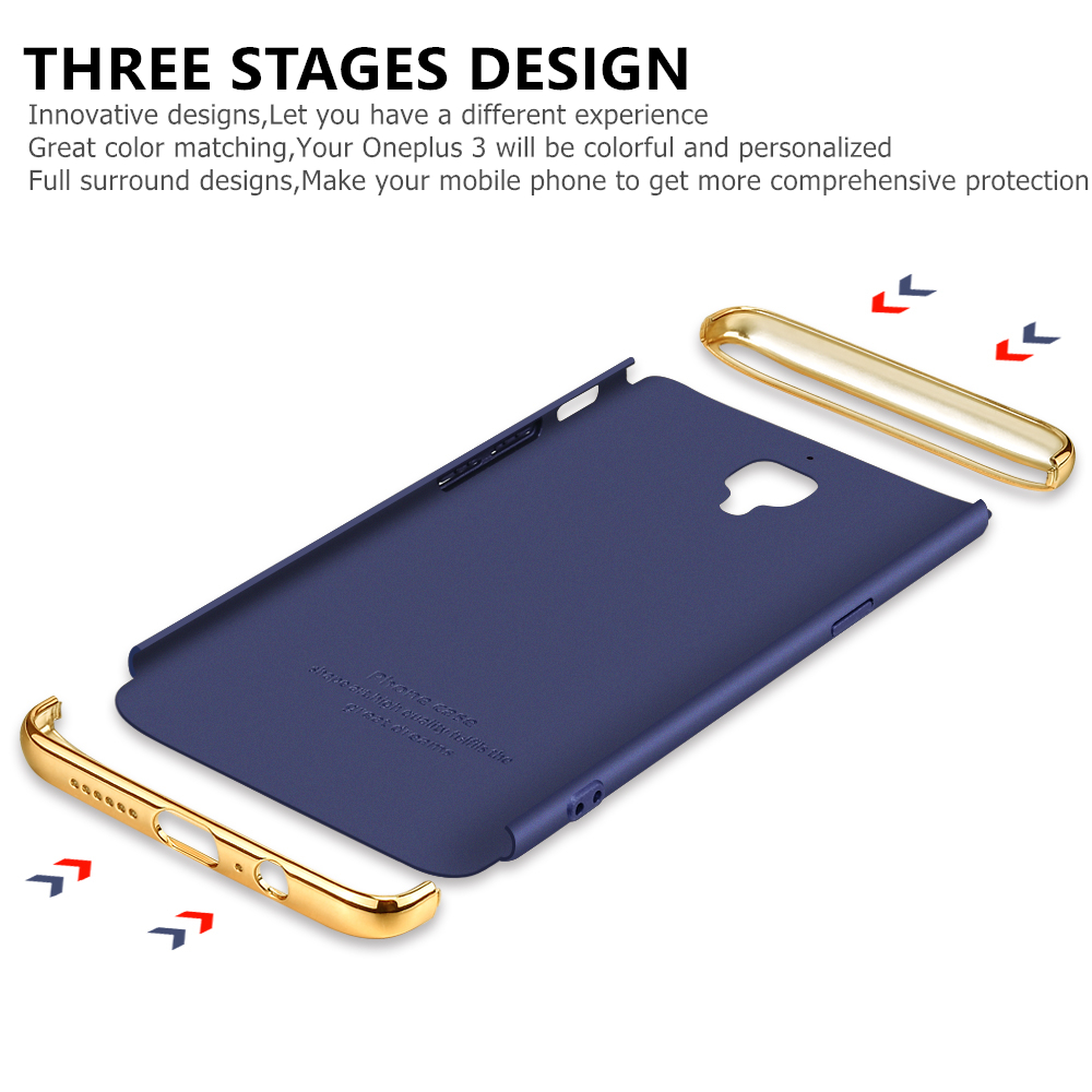sale retailer 79daa f9bc5 US $4.99 |GKK OnePlus 3T Electroplated 3 in 1 Phone Case for OnePlus 3 Case  A3000 Hard with Screen Protector OnePlus 3T Case Cover-in Fitted Cases ...