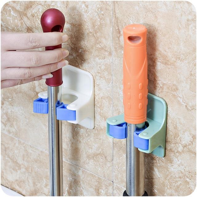 MOM'S HAND 2pcs/lot Home Clip Mop Hooks No Trace Mop Holder Bathroom Rack 2