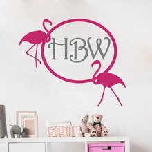 цена на Monogram Wall Decal Flamingo Personalized Initial Boys Girls Name Nursery Children Room Vinyl Sticker Home Decor Murals W-61