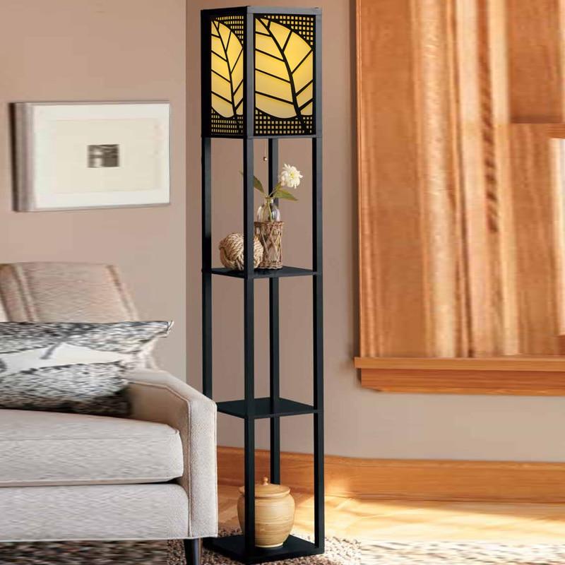 Chinese Style Modern Minimalist Wooden Floor Bedroom Bedside Lamp Flower Shelf Standing Lamp Floor Lamps For Living Room