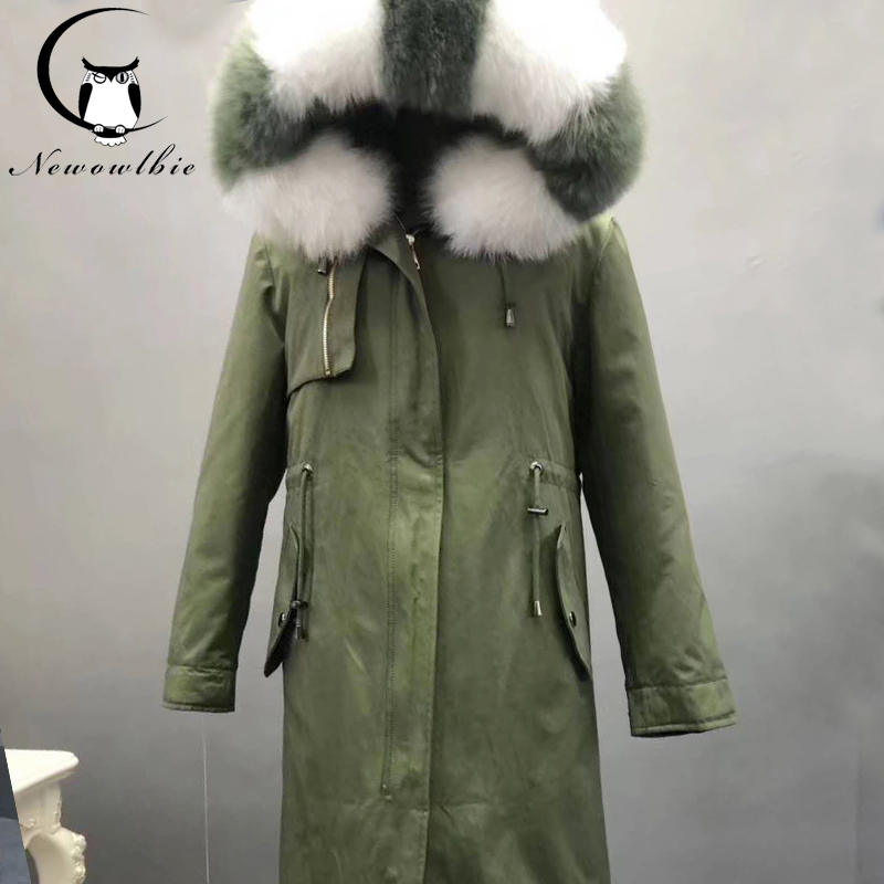 winter jacket female leather coat 100% rex rabbit liner natural real fox fur collar loose long coat fur coat detachable image