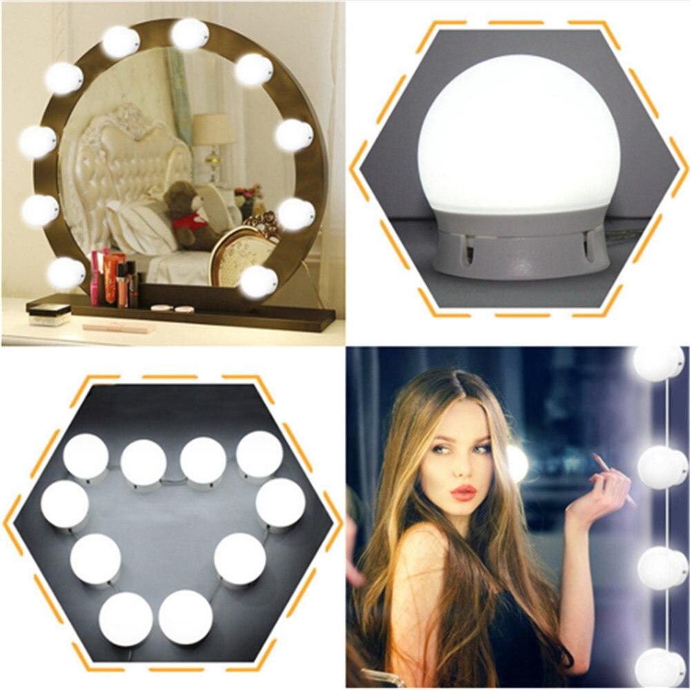 Светодиодный косметическое зеркало огни комплект, макияж свет с 10 затемнения ламп и сенсорный диммер для макияжа туалетный столик в Гардер…