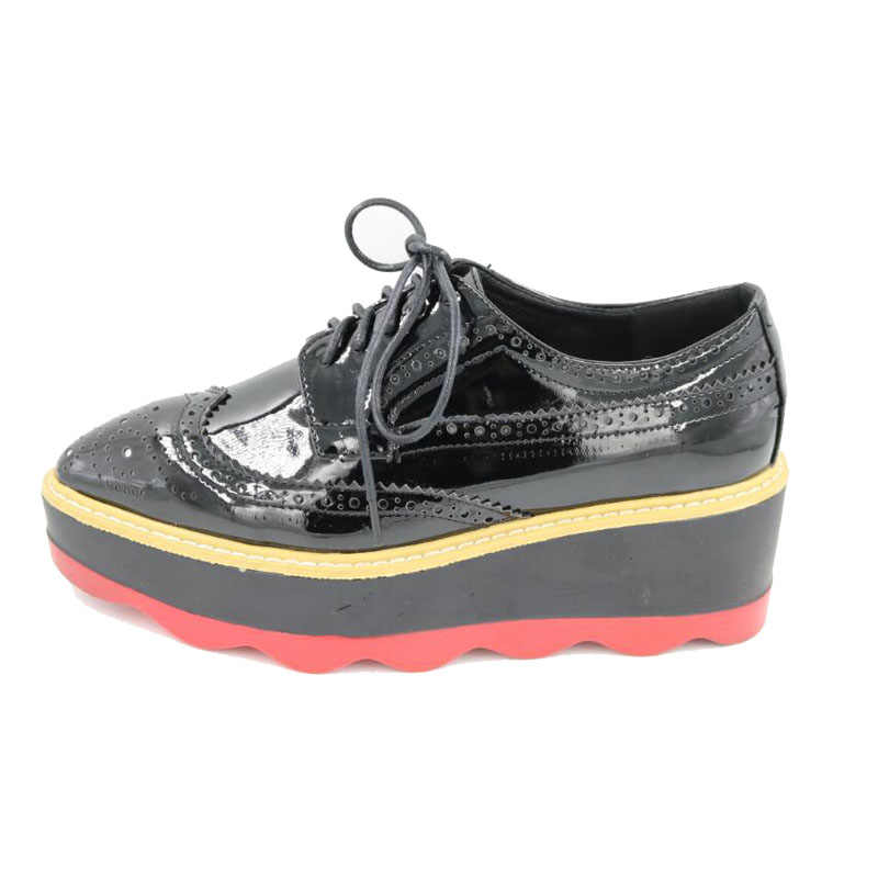 df4fd176b797 ... New Brockden Brogues Women Platform Shoes Lace Up Creeper Oxford  Fashion Wedge Shoes For Women Wingtip ...