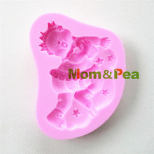 Mamá y guisante 0867 del bebé del envío en forma de molde de silicona Cake Decoration Fondant Cake 3D molde de la categoría alimenticia