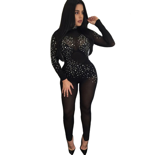 85f3d623cc Sexy Turtleneck Bodysuit Women Long Sleeve Stretchy Mesh Rompers Womens  Jumpsuits Party Club Zipper Up Body