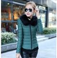 Abajo concede la chaqueta corta, mujeres chaqueta de invierno cuello de pelo pesado luz Warm Coat elegante delgado yardas grandes mujeres G1866