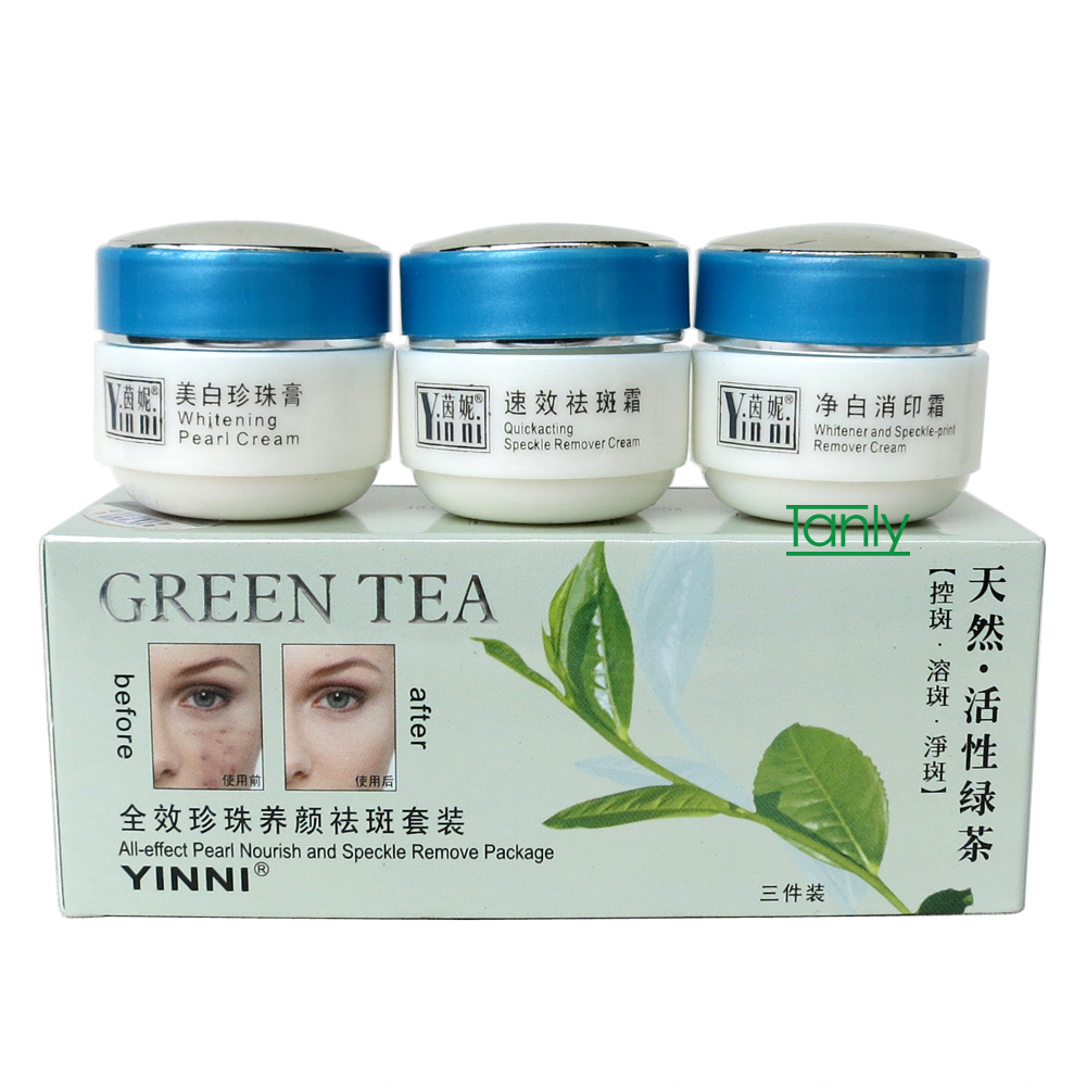 YINNI Green tea anti freckle skin care whitening cream for face remove pigment (3 in 1)  8pcs/lot