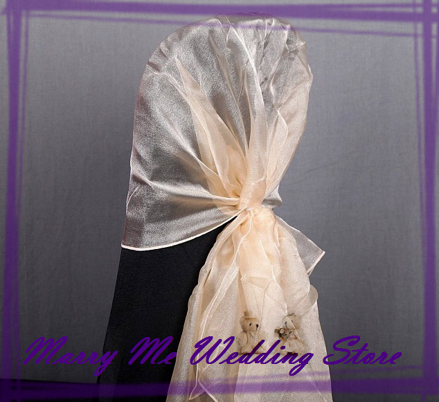 b6a2442064792 100 Antique Gold Organza Sashes for Chair Organza Chair Hood Chair Cover  Sash bow for Wedding Chair Bowknot free shipping