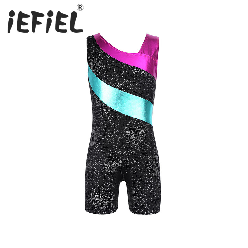 iEFiEL Kids Girls Children One-piece Glittery Splice Ballet Dance Stage Perform Dress Gymnastics Jumpsuit Fancy Party Dancewear
