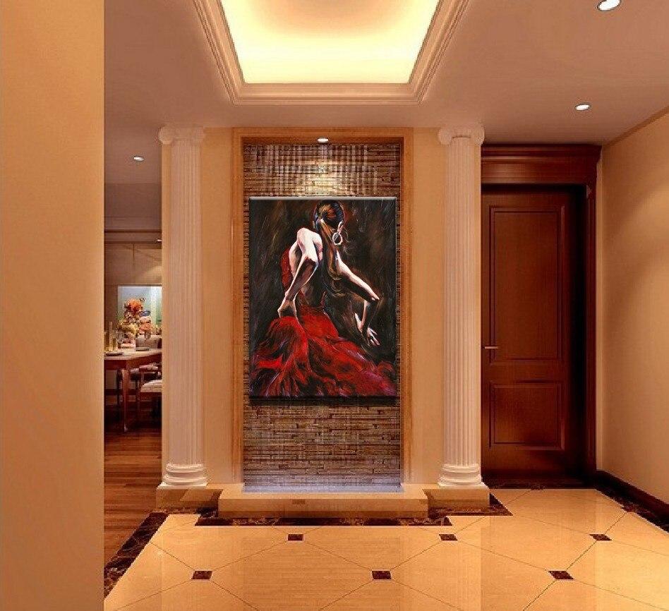 Spanish Wall Decor aliexpress : buy spanish flamenco dancer in red dress oil