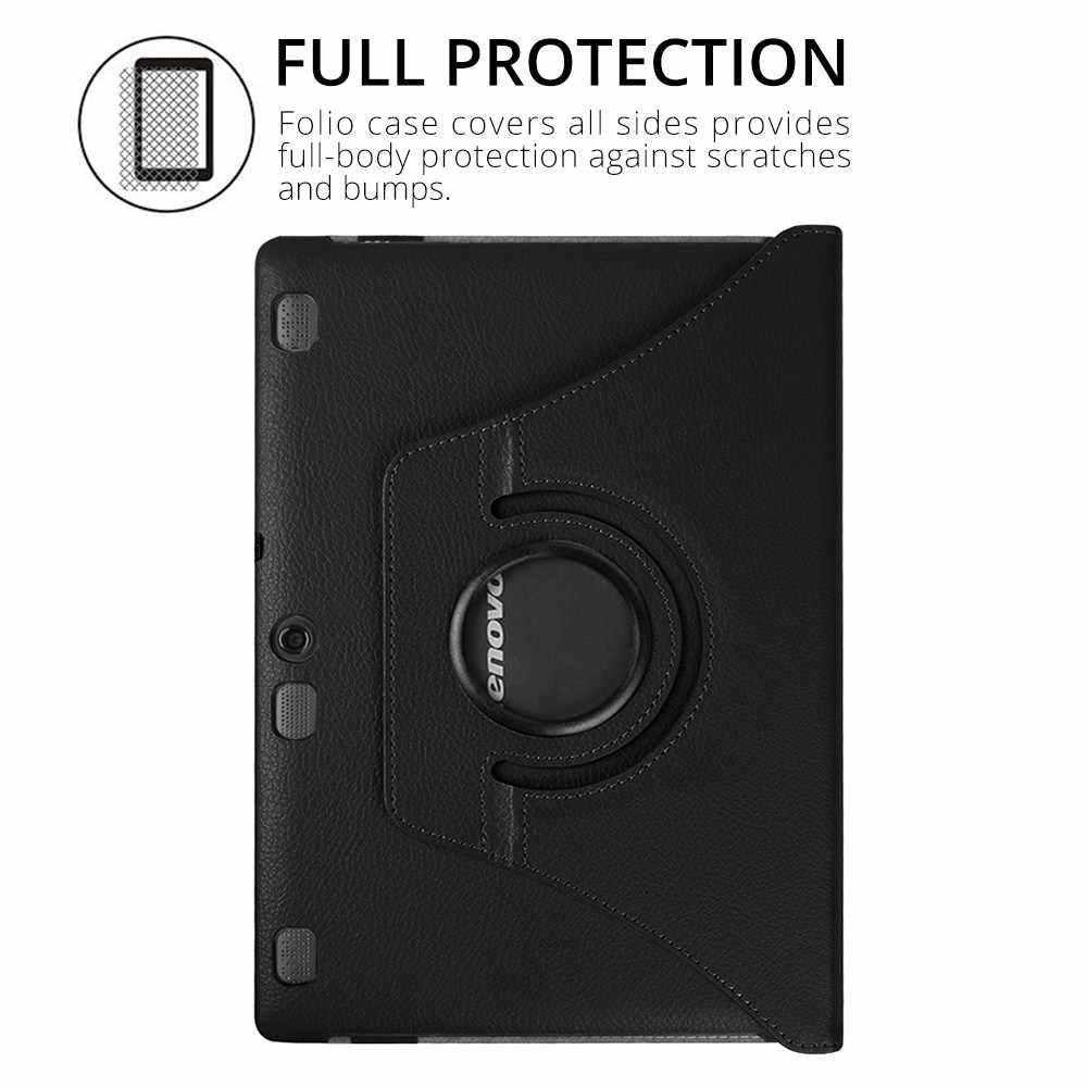 360 döner PU deri kılıf için Lenovo Tab 2 A10-70F/L A10-30 X30F/M Tab 3 X70 X70F x70M Tab 10 TB-X103F X103F kılıf + Film + kalem