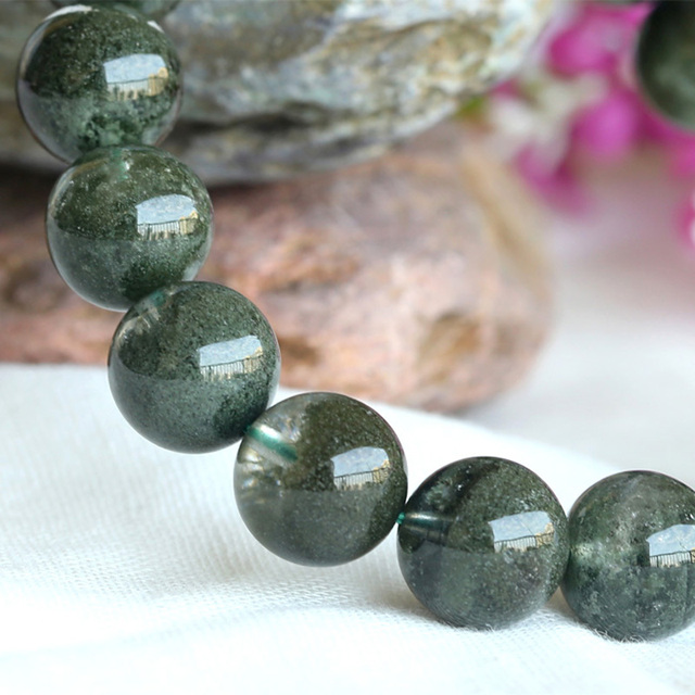 AAA Wholesale Natural High Quality Clear Genuine Cornucopia Green Phantom Quartz Men's Stretch Bracelet Round Beads 11mm 03787
