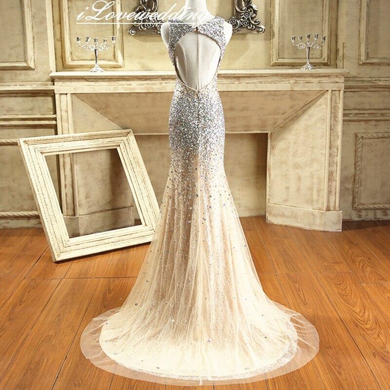 Glänsande Champagne Sjöjungfrun Sida Split Prom Klänningar Med - Särskilda tillfällen klänningar - Foto 3