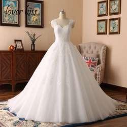 Lover Kiss Vestido Casamento фестиваль кружевные свадебные платья с коротким рукавом милые свадебные платья платье с настоящим фото De Noiva Плюс