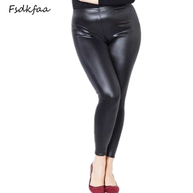 2018 Women High Elastic Thin Faux Leather   Leggings   Large Size Xl-5XL Imitation Leather Pants Skinny Shiny Black Plus   Leggings