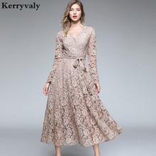 Осеннее Женское Платье макси с длинным рукавом, Vetement Femme, Осенние вечерние длинные кружевные платья с v-образным вырезом, Vestidos Longos K3509
