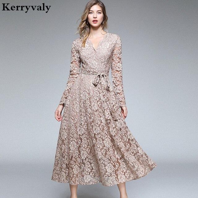 Autumn Women Long Sleeves Maxi Dress Vetement Femme 2021 Fall V-Neck Long Party Lace Dress Vestidos Longos K3509 1