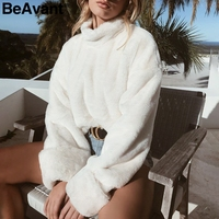 BeAvant Turtleneck oversize white fur sweatshirt Women furry winter swearshirt female 2018 casual zipper sweat shirt pull femme