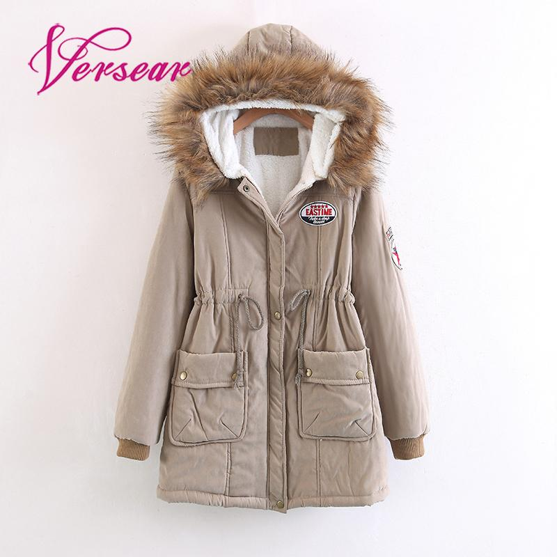 2019 Women Winter Coat Jacket Faux Fur Hooded Parka Coat Fashion Lady Drawstring Waist Pocket Applique Warm Long Coat Outerwear