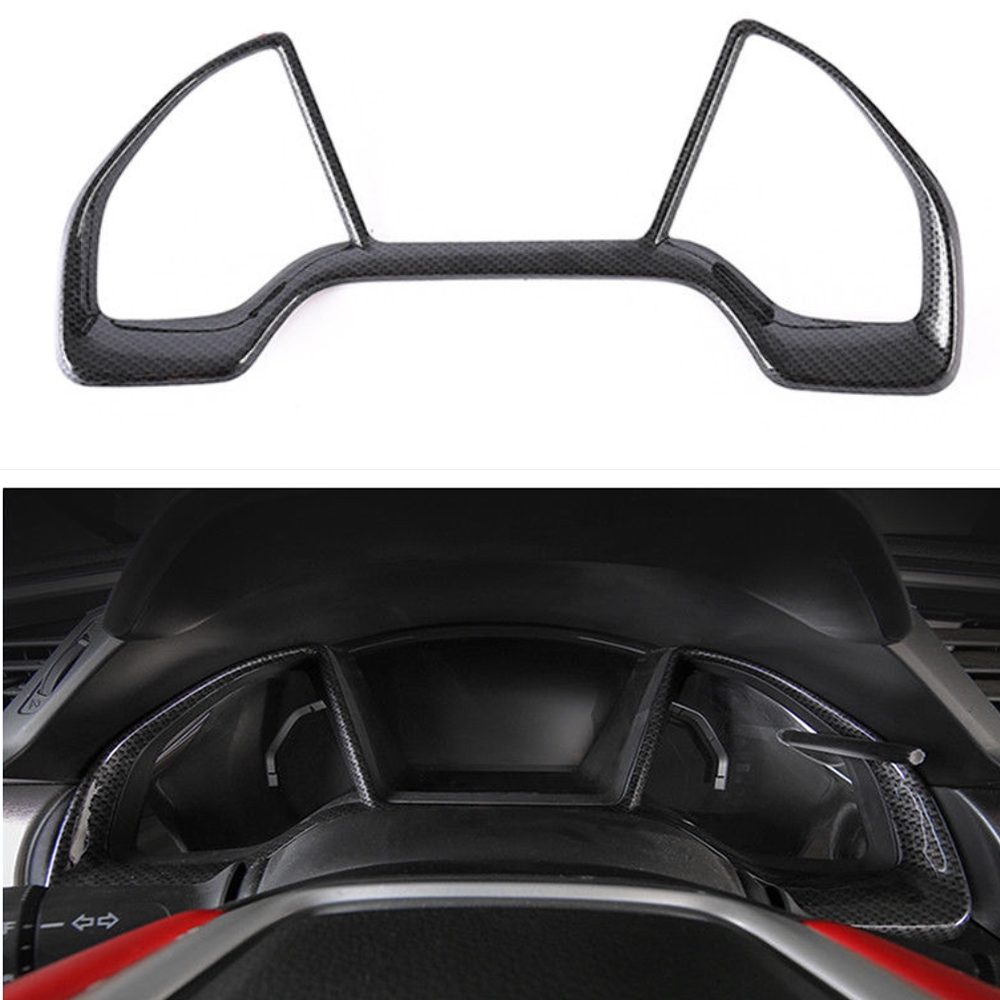 1pcs Carbon Fiber Colors Car Interior Dashboard Cover Frame Decal Fit For Honda 2016-2018 Civic Hatchback Si Car Styling Covers