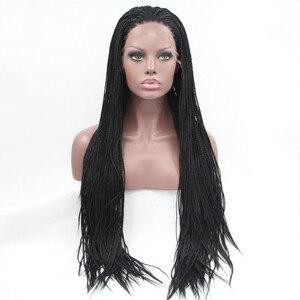 Image 2 - シルビア1b #カラー合成編組レースフロントウィッグ用女性耐熱繊維毛かつらプレミアム編み込みかつら