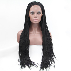 Image 2 - Sylvia 1b#Color Synthetic Braided Lace Front Wigs For Women Heat Resistant Fiber Hair Wigs Premium Braid Wig