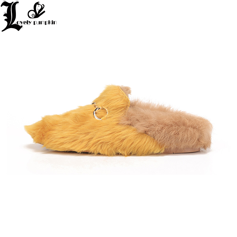 2018 superstar slingback rabbit fur runway classic outside slipper metal flat with fashion winter slippers warm shoes LP020