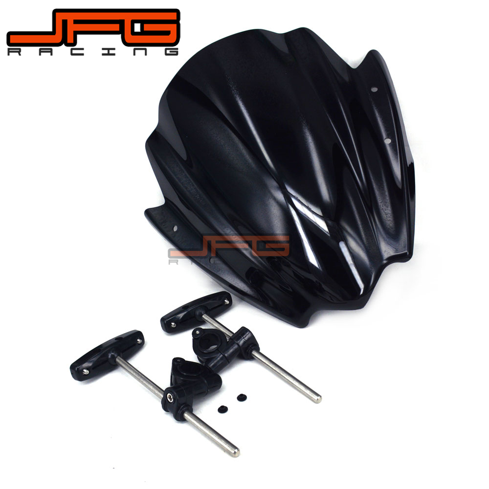 7/8  & 1Universal Windscreen Windshield for Harley Kawasaki Suzuki Honda Yamaha KTM Ducati Motorcycle Street Bike dwcx motorcycle adjustable chain tensioner bolt on roller motocross for harley honda dirt street bike atv banshee suzuki chopper