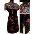 Mujeres de noche Formal del partido vestido corto del Qipao Mini Cheongsam de seda tradición china Tang traje negro rojo talla S a 6XL J4037