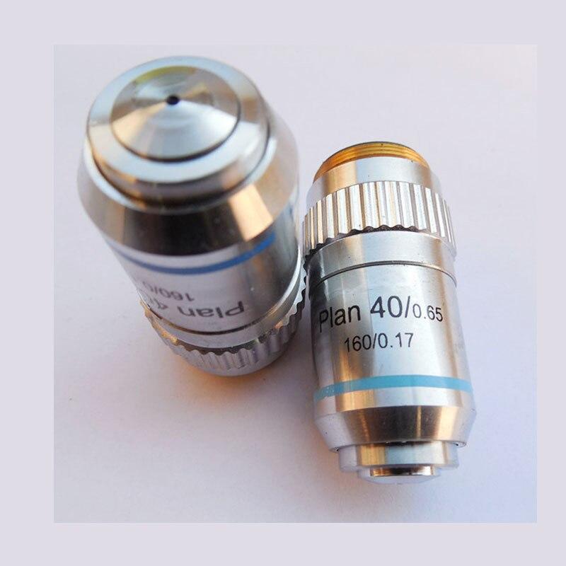 Avec printemps 40X/0.65 Plan achromatique Microscope objectif lentille biologique Microscope accessoire DIN160/0.17 livraison gratuiteAvec printemps 40X/0.65 Plan achromatique Microscope objectif lentille biologique Microscope accessoire DIN160/0.17 livraison gratuite