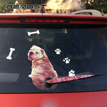 BEMOST Cute Shar Pei Dog Moving Tail Decal 3D Car Animal Stickers Auto Sticker Reflective Car-Styling Rear Wiper 27*16CM