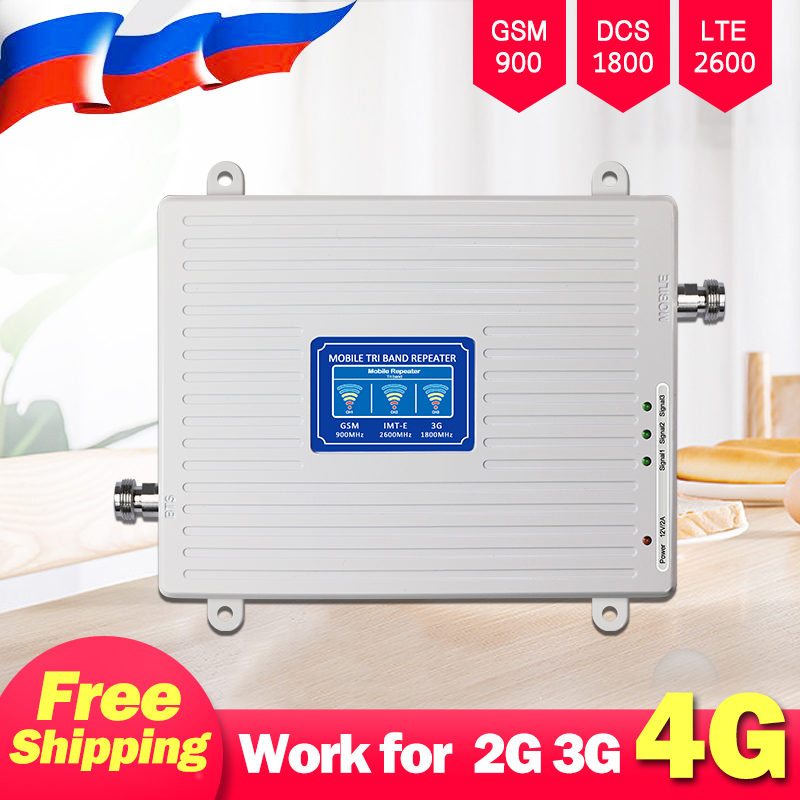 Repeater 900 1800 2600 Mobile Signal Booster 2G 3G 4G Amplifier GSM LTE Cellular Amplifier Cell Phone Signal Booster Tri-Band