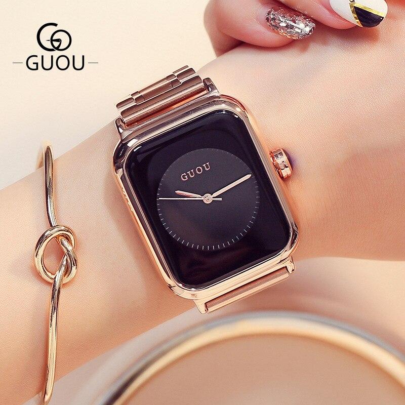 Модные GUOU розовое золото Сталь не исчезают Hardlex прямоугольник Кварцевые наручные часы для Для женщин женские Обувь для девочек op001