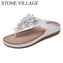 STONE VILLAGE New 2019 Women Sandals Bohemian Rhinestones Flower Beach Flip Flops Large Size Comfortable Flat Shoes Women