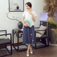 Summer New Flower Feminina Camisa Chinese Women S Cotton Linen Blouse Novelty Print Short Sleeve Shirt