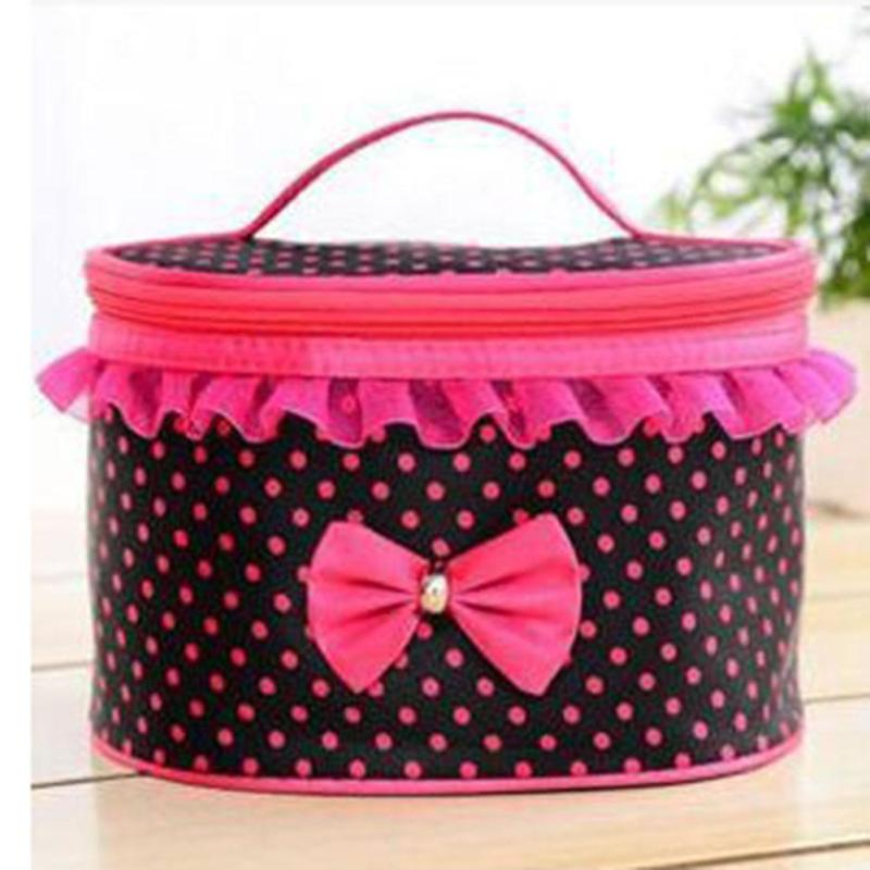 Lovely Pink Color Girls Make up Bag Dots Printed with Bow Tie Lace Women Storage Bags Zipper Large Capacity Party Handbag Y2