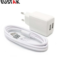 EUSTA original 2A white Dual 5V USB EU Plug Wall Charger micro USB cable for Samsung galaxy S3 I9300 note 3 note4 mobile phone