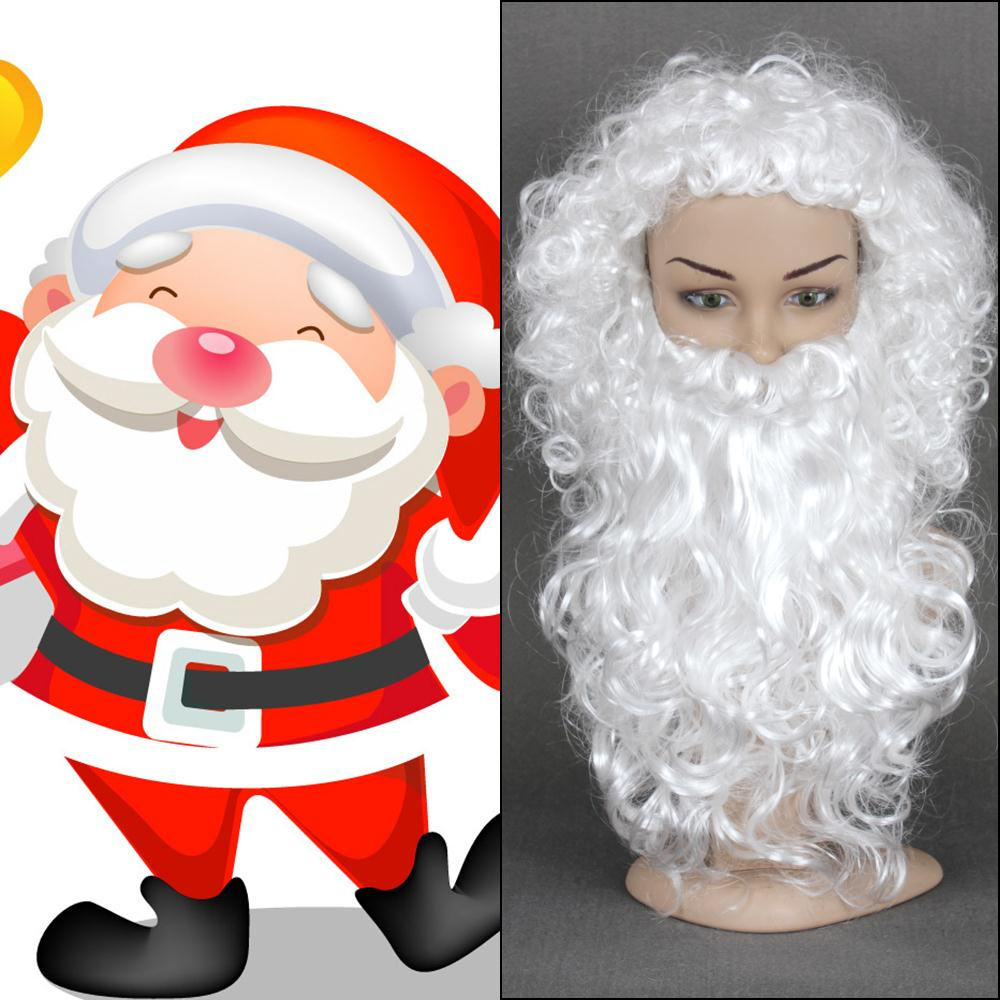 White Short Kinky Curly Heat Resistant Christmas Santa Claus Cosplay ...