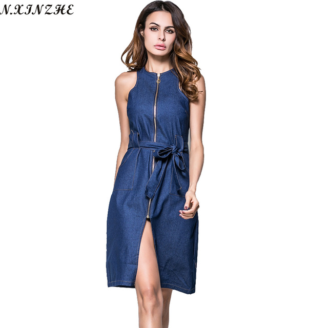 0b0043eff4 N.XINZHE Zipper stretch Denim dress women 2017 Vintage Pockets Summer Sexy  Sleeveless waist tie Slim Casual jean dresses female
