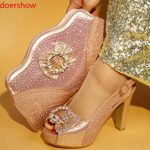 doershow New Italian Shoes with Matching Bags Set Decorated with Appliques Nigerian Shoes and Matching Bags Set Women  !JU1-15