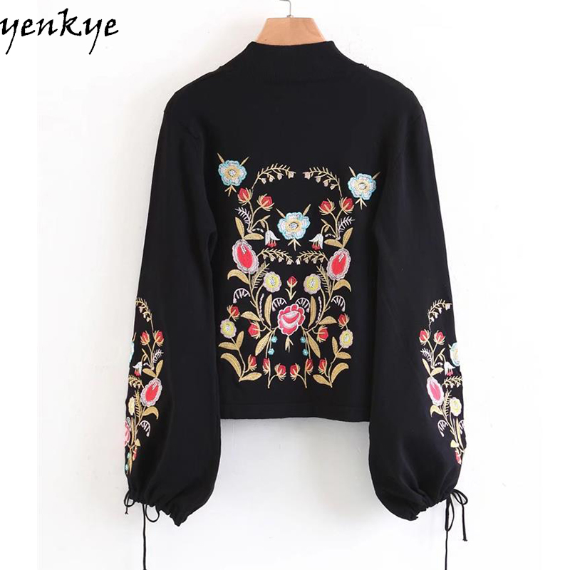 1a42689d033 Floral Embroidered Women Sweater Tie Cuffs Lantern Sleeve Half Turtleneck  Black Autumn Knitted Pullover Cropped Jumper -in Pullovers from Women s  Clothing ...
